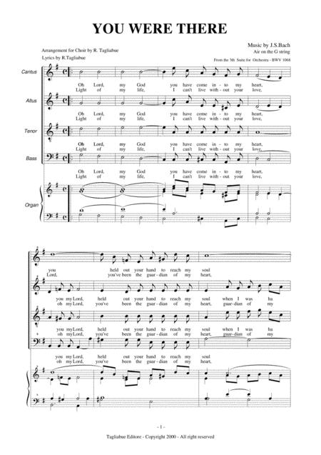 YOU ARE THERE - AIR ON G STRING - CHOIR SATB AND ORGAN