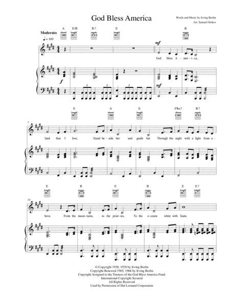 God Bless America - for Piano/Voice/Guitar