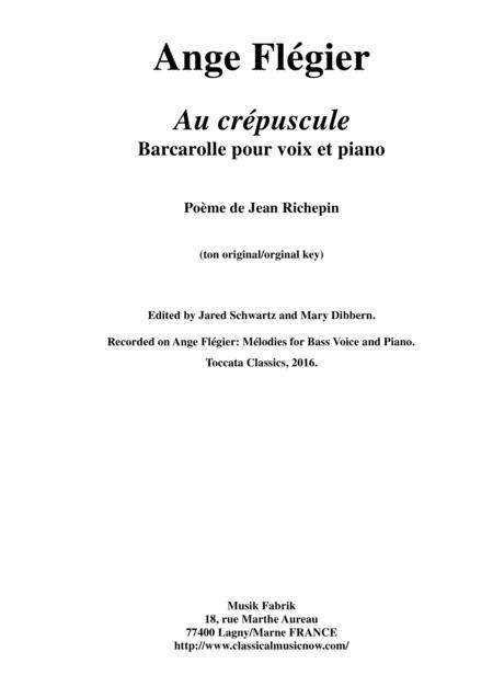Ange Flégier:  Au crépuscule for baritone voice and piano