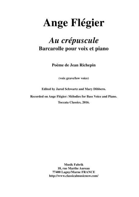 Ange Flégier:  Au crépuscule for bass voice and piano