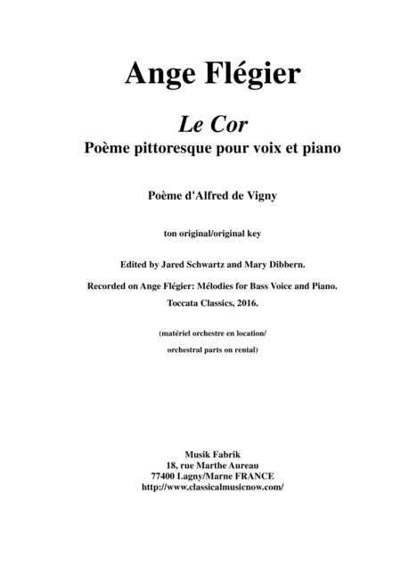 Ange Flégier:  Le Cor for bass voice and piano