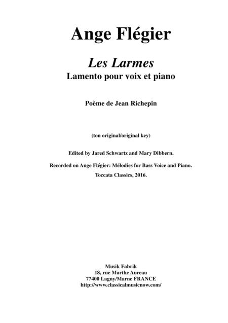 Ange Flégier: Les Larmes for miedum voice and piano