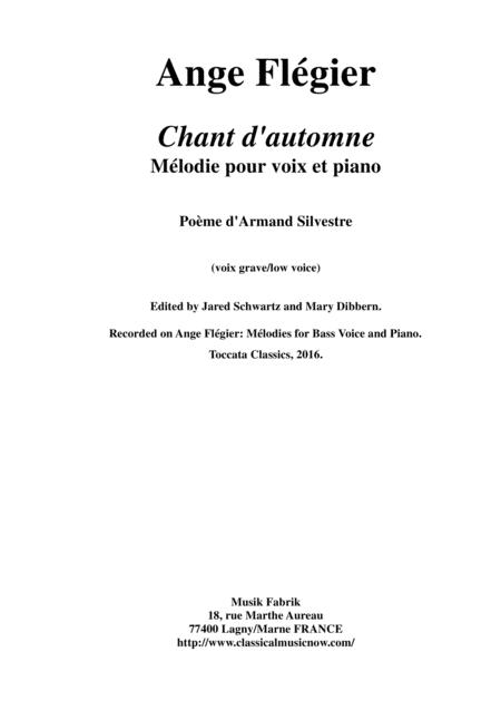 Ange Flégier:  Chant d'Automne for bass voice and piano