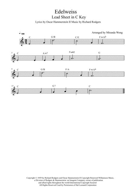 Download Edelweiss - Lead Sheet In C Key (With Chords) Sheet Music ...