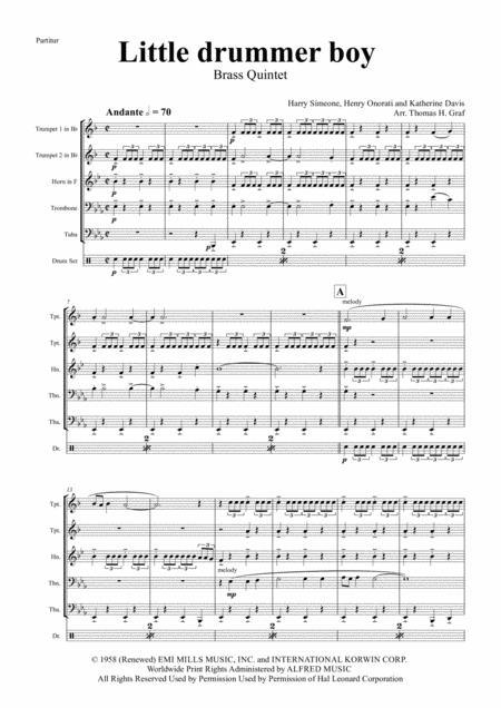The little drummer boy - Christmas Bolero - Brass Quintet