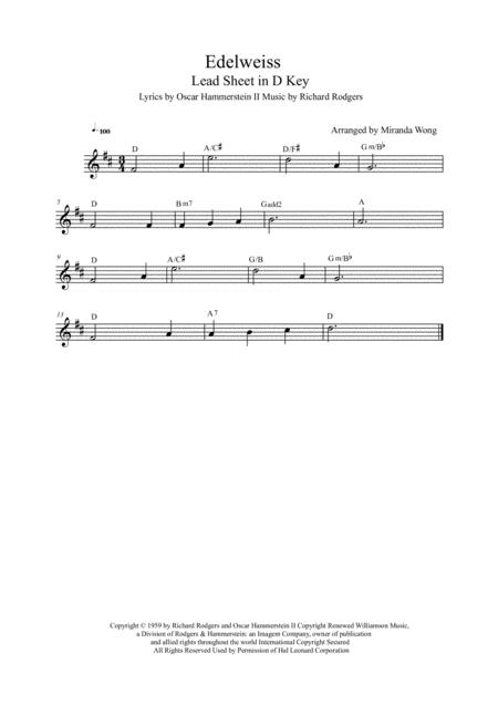 Edelweiss - Lead Sheet in 4 Keys (With Chords)