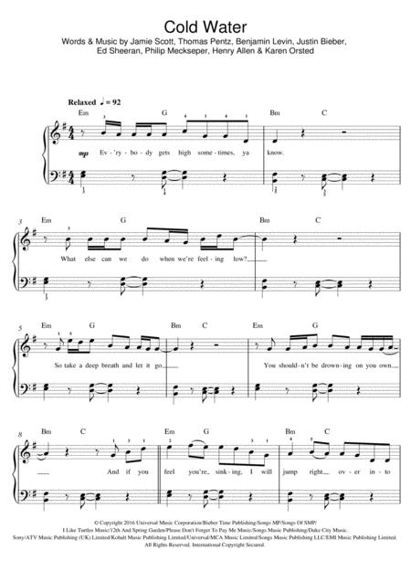 Download Cold Water Featuring Justin Bieber Sheet Music By Justin