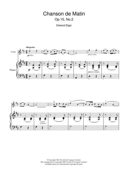 Chanson De Matin Opus 15, No. 2