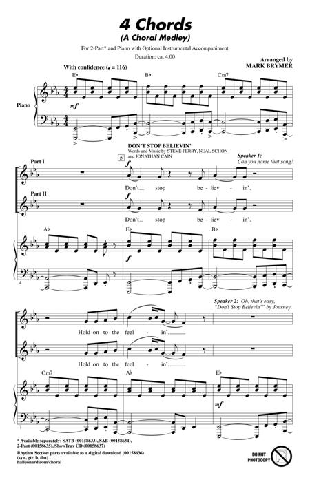 Download 4 Chords A Choral Medley Sheet Music By Tim Rice Sheet