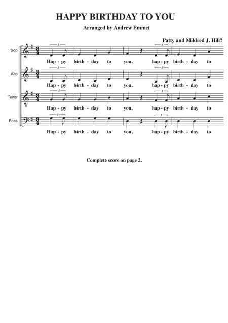 Happy Birthday To You A Cappella SATB
