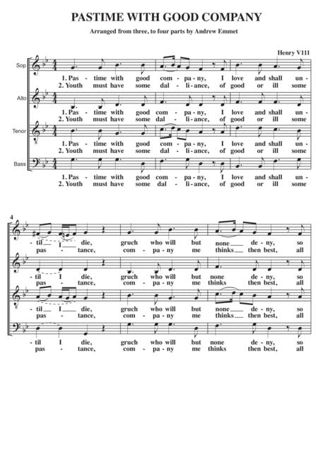 Pastime With Good Company SATB A Cappella