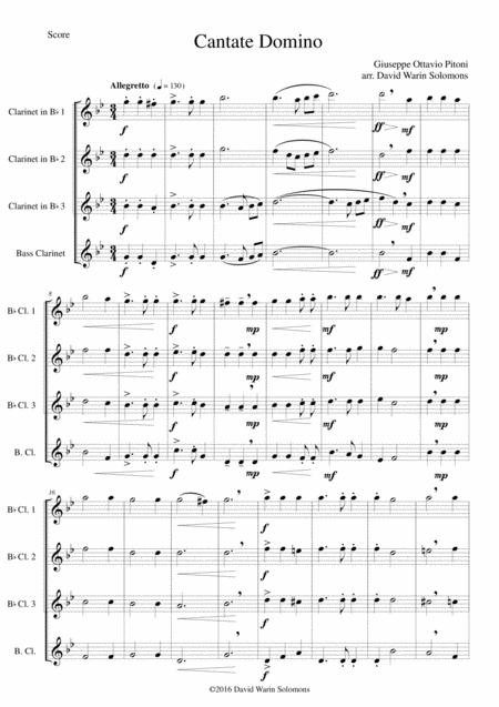 Cantate Domino by Pitoni arranged for clarinet quartet (3 clarinets and 1 bass clarinet)