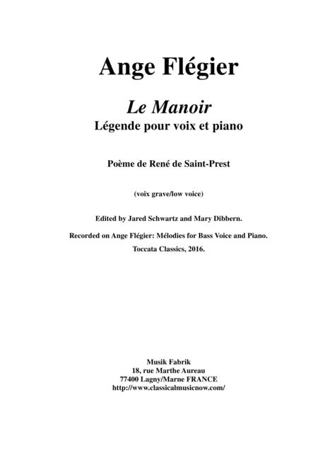Ange  Flégier:  Le Manoir for bass voice and piano