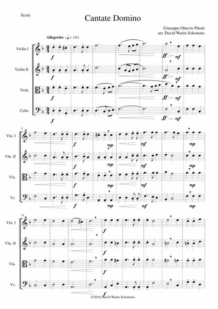 Cantate Domino by Pitoni for string quartet