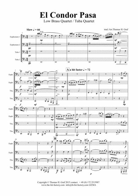 El Condor pasa - Peruvian Folk Song - Low Brass Quartet/Tuba Quartet