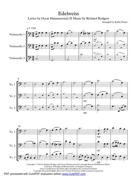 Edelweiss for Cello Trio