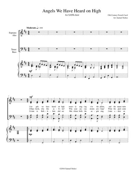 Angels We Have Heard on High - for SATB choir with piano accompaniment