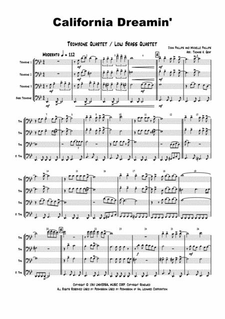 California Dreaming - Beach Boys, Mamas & the Papas - Trombone Quartet