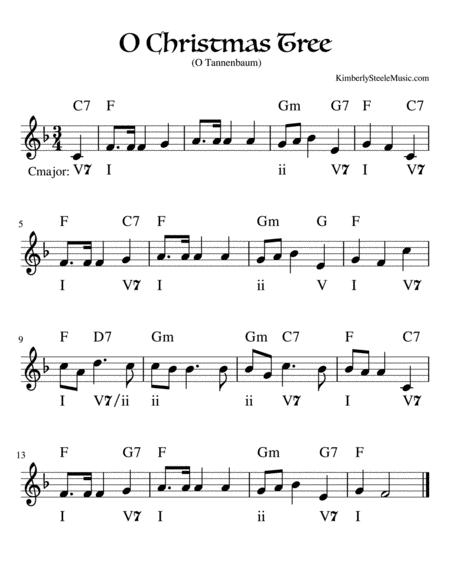 Download O Christmas Tree Lead Sheet With Figured Bass In F Sheet