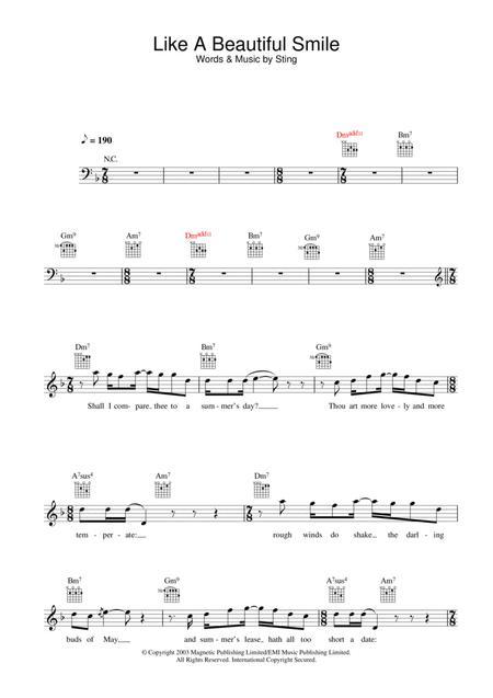 Download Like A Beautiful Smile Sheet Music By Sting Sheet Music Plus