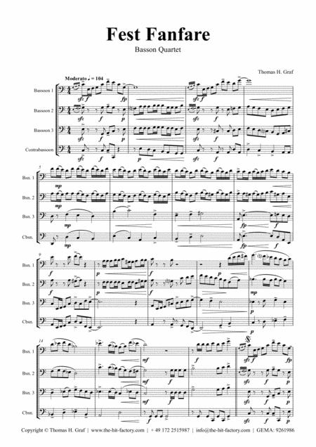 Fest Fanfare - Classical Festive Fanfare - Opener - Bassoon Quartet