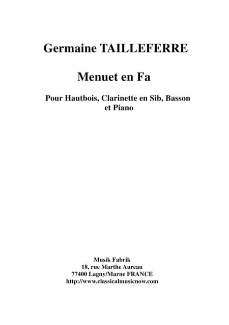Germaine Tailleferre: Menuet en Fa for oboe, Bb clarinet, bassoon and piano