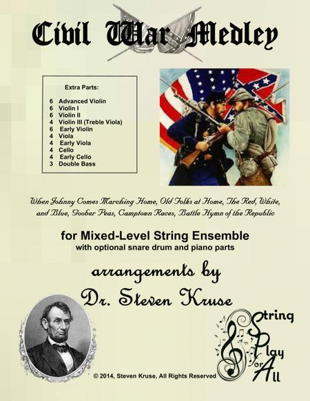 Civil War Medley for Mixed-Level String Orchestra with Snare Extra Parts