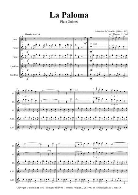 La Paloma - Spanish Habanera - Flute Quintet