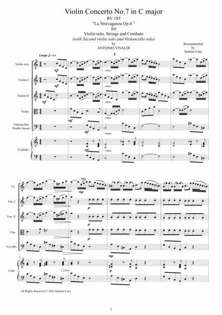 Vivaldi - Violin Concerto No.7 in C major Op.4 RV 185 for Violin solo, Strings and Cembalo