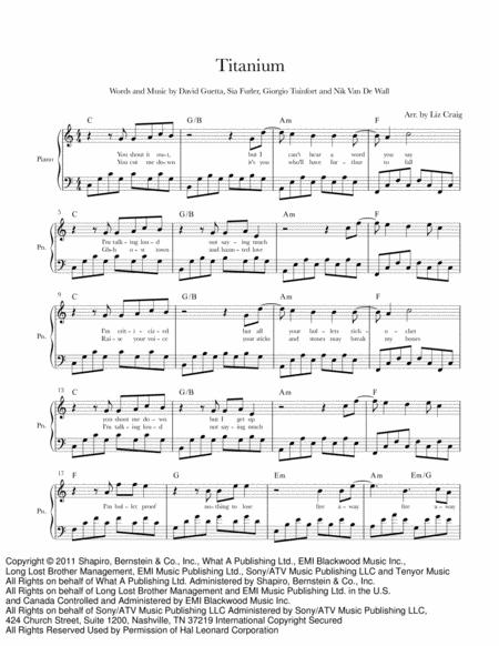 Download Titanium - Piano/Voice/Chords Sheet Music By David Guetta ...