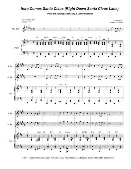 Here Comes Santa Claus (Right Down Santa Claus Lane) (Duet for Soprano and Alto Saxophone)