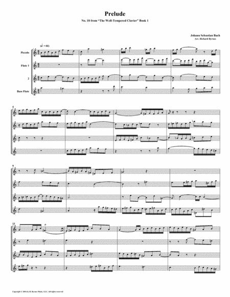 Prelude 18 from Well-Tempered Clavier, Book 1 (Flute Quartet)