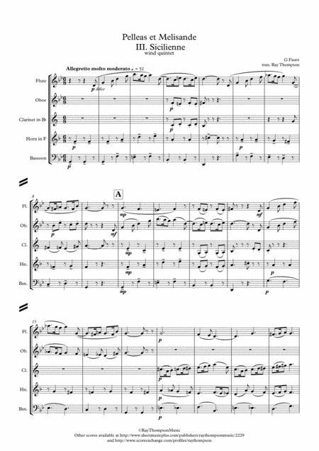 Fauré: Pelleas et Melisande Op.78 III. Sicilienne - wind quintet
