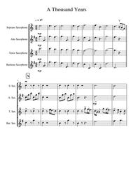 A Thousand Years for Saxophone Quartet SATB