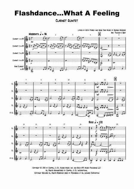 Flashdance...What A Feeling - Irene Cara - Clarinet Quintet