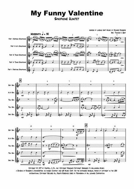 My Funny Valentine - Jazz Ballad - Saxophone Quintet