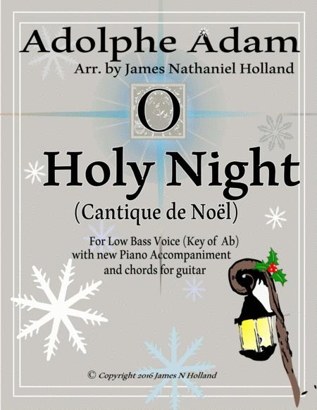 O Holy Night (Cantique de Noel) Adolphe Adam for Solo Low Bass Voice (Key of Ab)