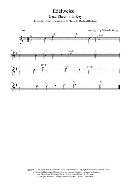 Download Edelweiss - Lead Sheet In G Key (With Chords) Sheet Music ...
