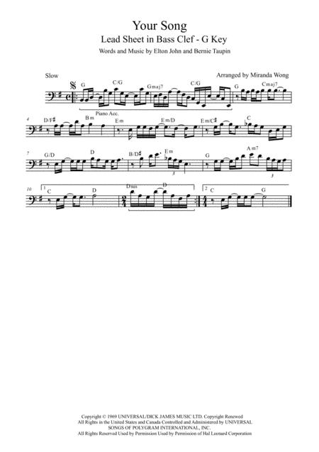 Your Song - Lead Sheet in G Key (Bass Clef)