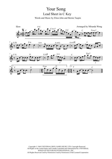 Your Song - Lead Sheet in C Key (With Chords)
