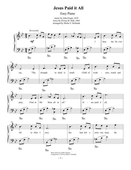 Download Jesus Paid It All Easy Piano Sheet Music By John Grape