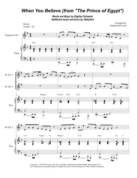When You Believe (From The Prince Of Egypt) (Bb-Trumpet Duet)