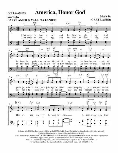 America Honor God (Worship Hymn Sheet)