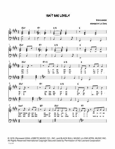 Download Isnt She Lovely Jazz Piano Arrangement Sheet Music By