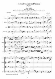 Vivaldi - Violin Concerto in D minor RV 242 Op.8 No.7 for String Quartet