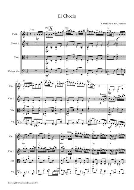 El Choclo Tango for String Quartet (score) - Intermediate/advanced