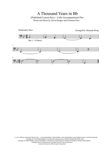 Preview A Thousand Years 2 Violins Piano Cello In Published Bb