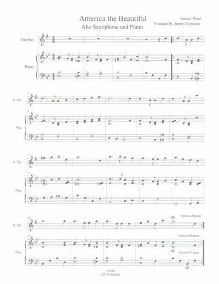 America the Beautiful Alto Saxophone Solo and Piano
