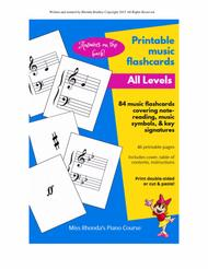 Music Flashcards for all student levels (printable)