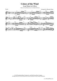 Download Colors Of The Wind - Lead Sheet In G Key For Violin Solo ...